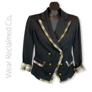 BAILY BLUE Black Military Blazer w/ Plaid Trim